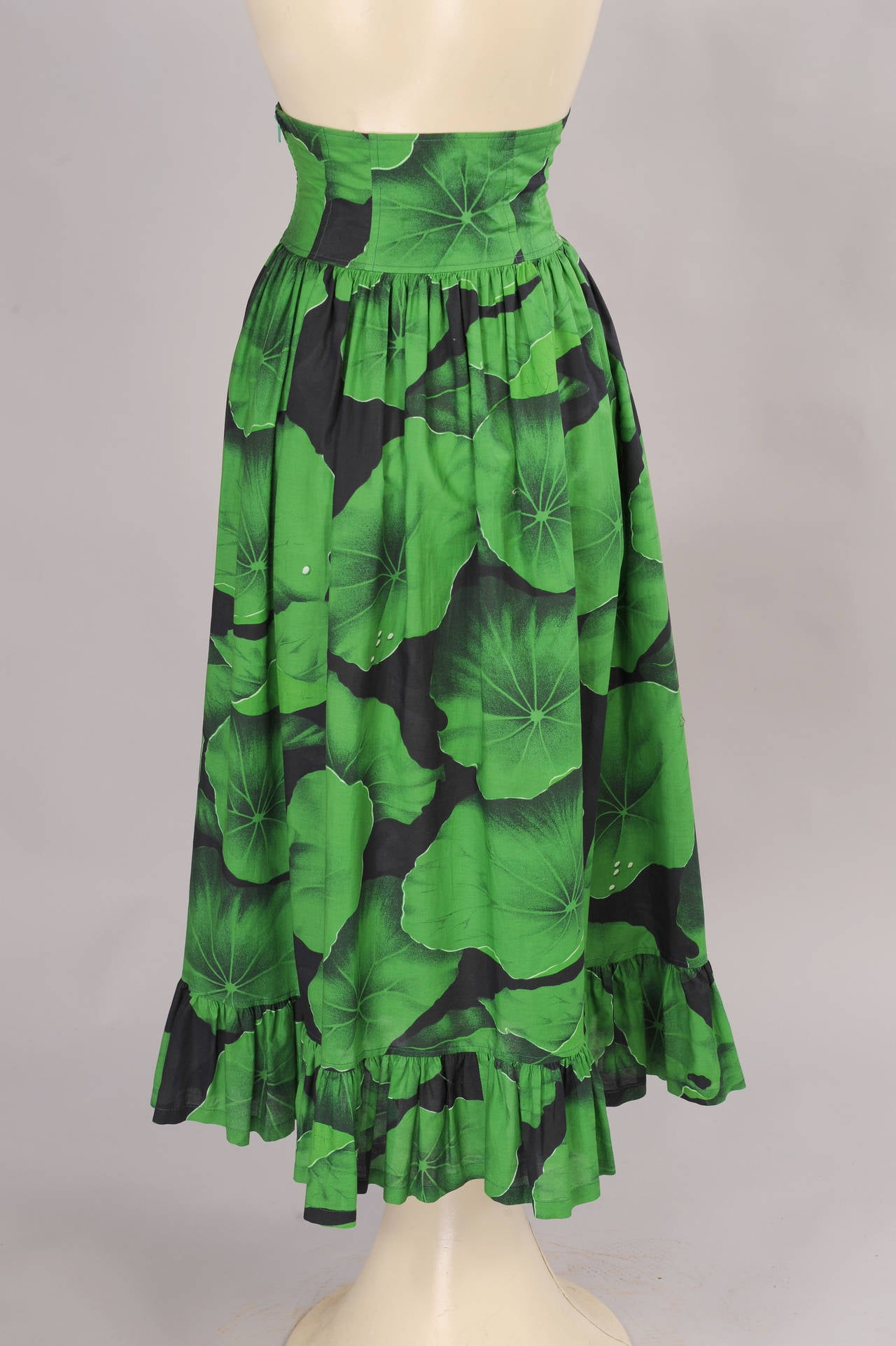 Kenzo corseted cotton skirt lily pad print at stdibs