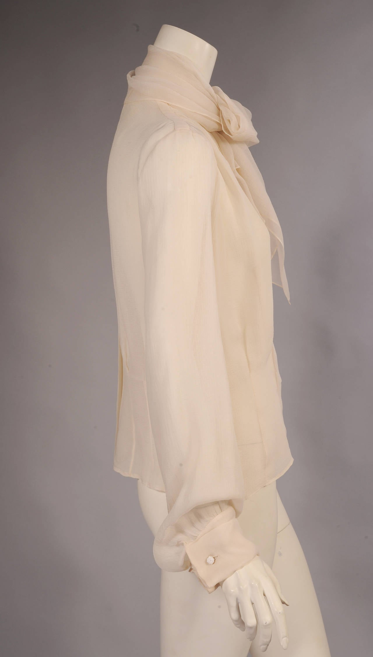 Yves Saint Laurent Cream Silk Georgette Haute Couture Blouse 2