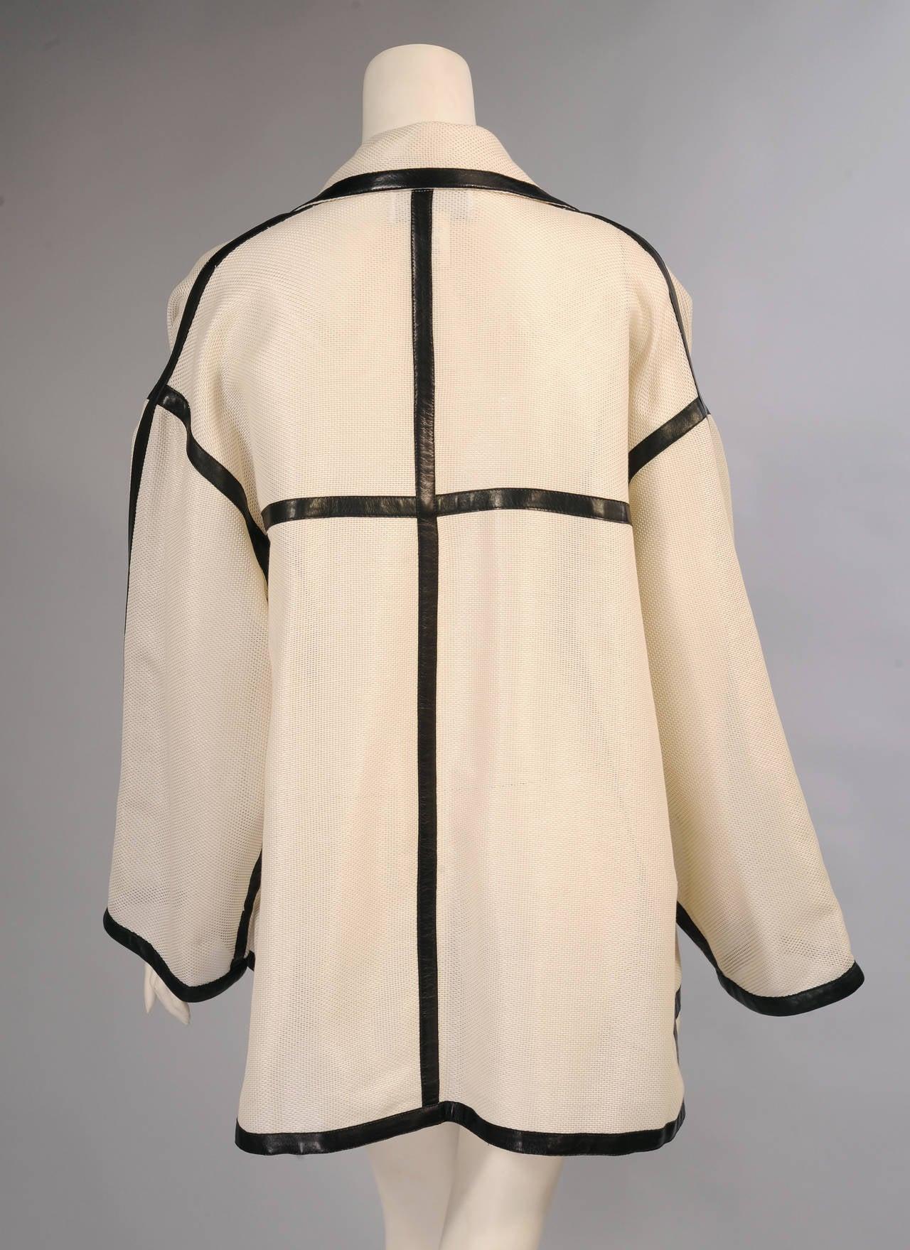 Beige Karl Lagerfeld Black Lambskin Trimmed Mesh Jacket For Sale