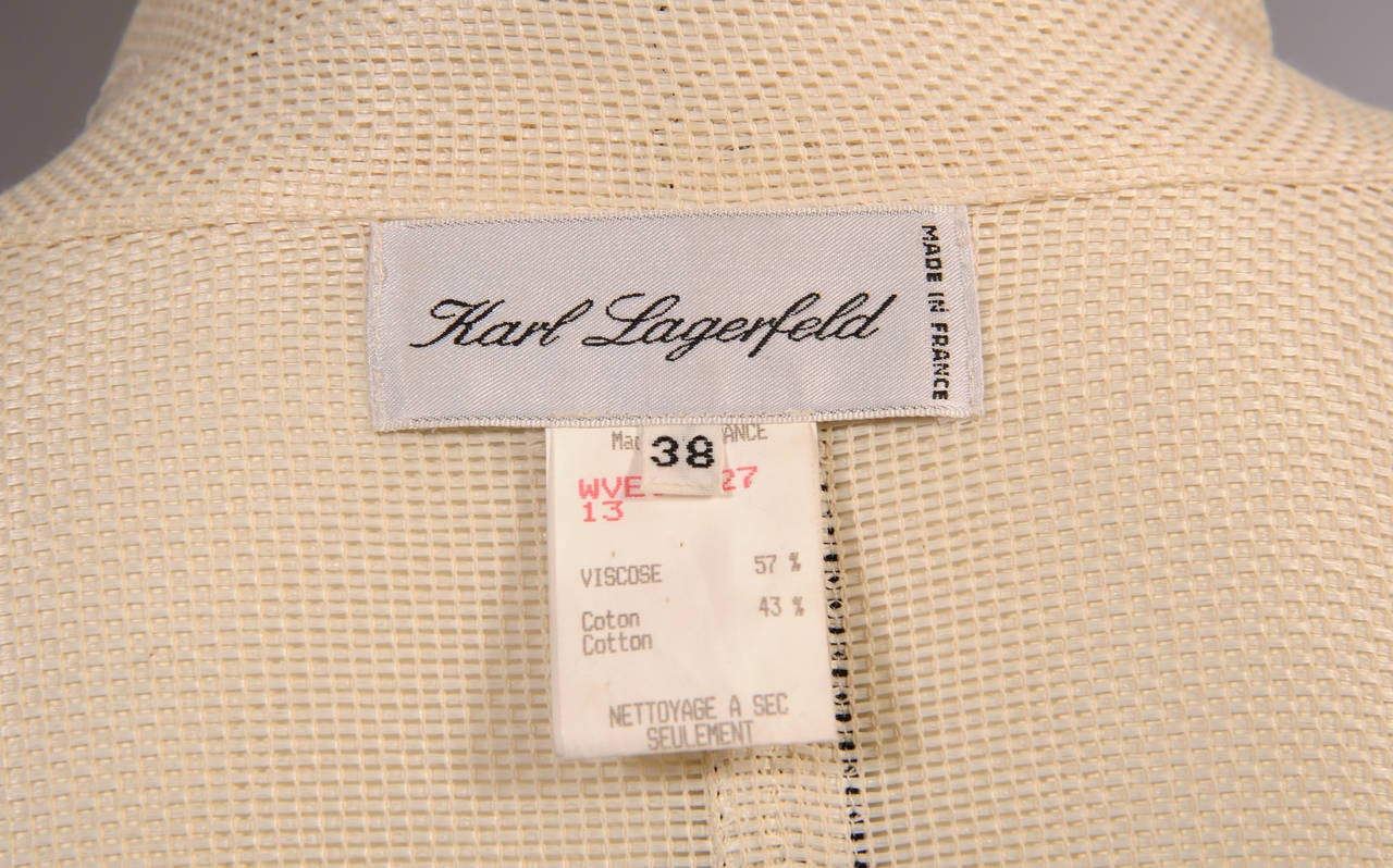 Karl Lagerfeld Black Lambskin Trimmed Mesh Jacket In Excellent Condition For Sale In New Hope, PA
