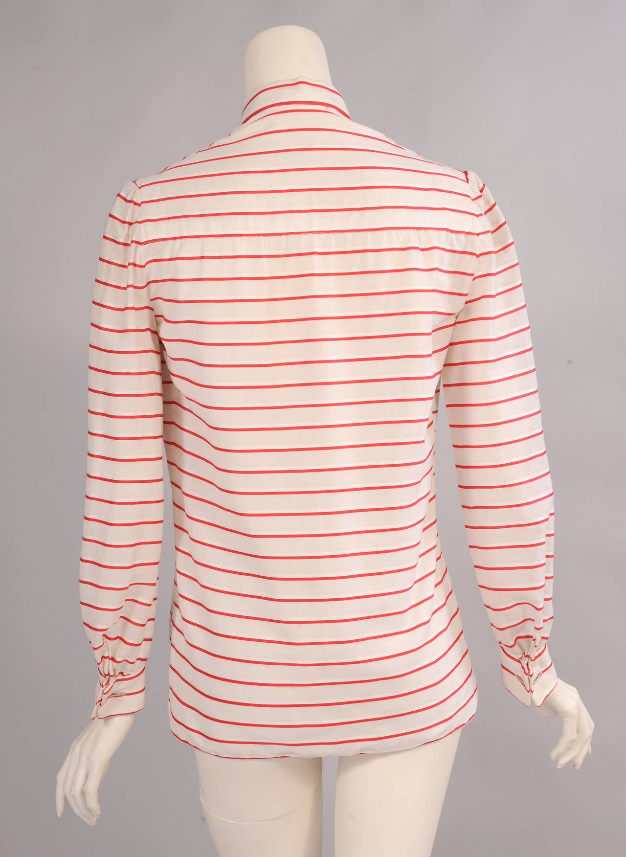 Beige Chanel Red & White Striped Numbered Haute Couture Blouse For Sale