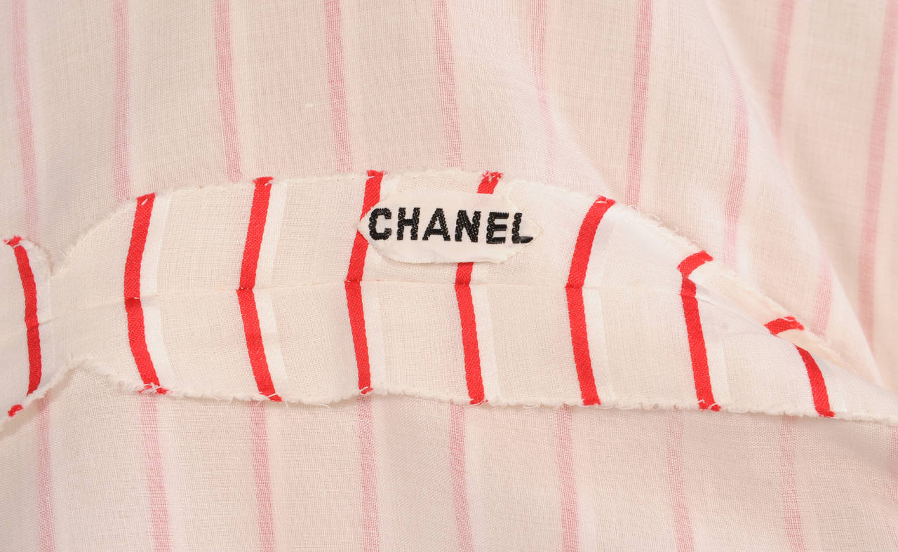 Chanel Red & White Striped Numbered Haute Couture Blouse In Excellent Condition For Sale In New Hope, PA