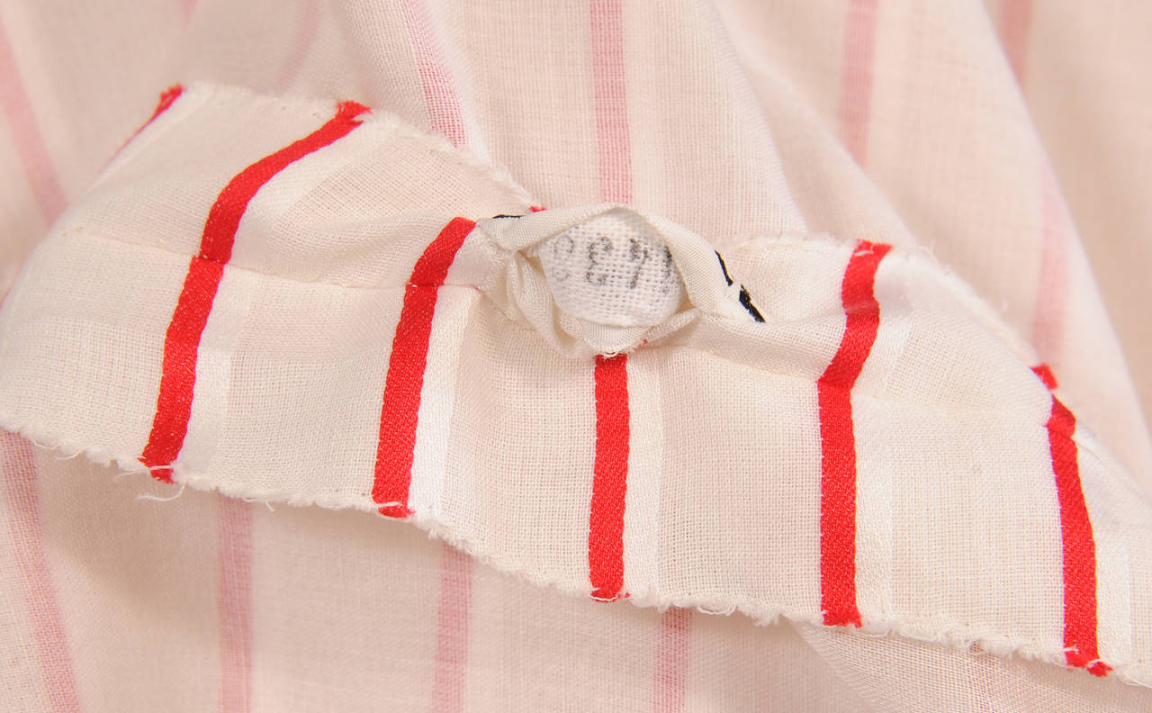 Chanel Red & White Striped Numbered Haute Couture Blouse 5