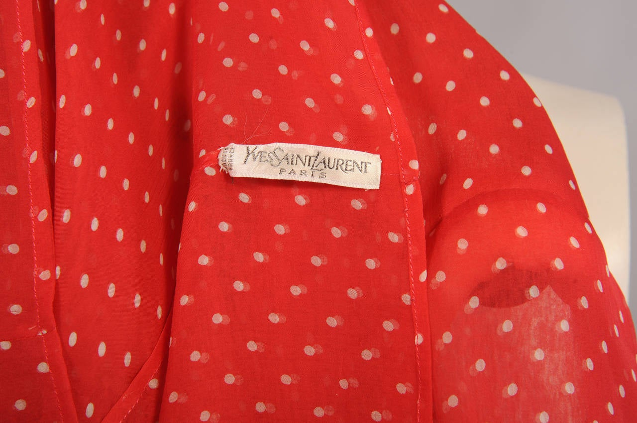 Yves Saint Laurent Polka Dot Chiffon Haute Couture Pussy Cat Bow Blouse 4