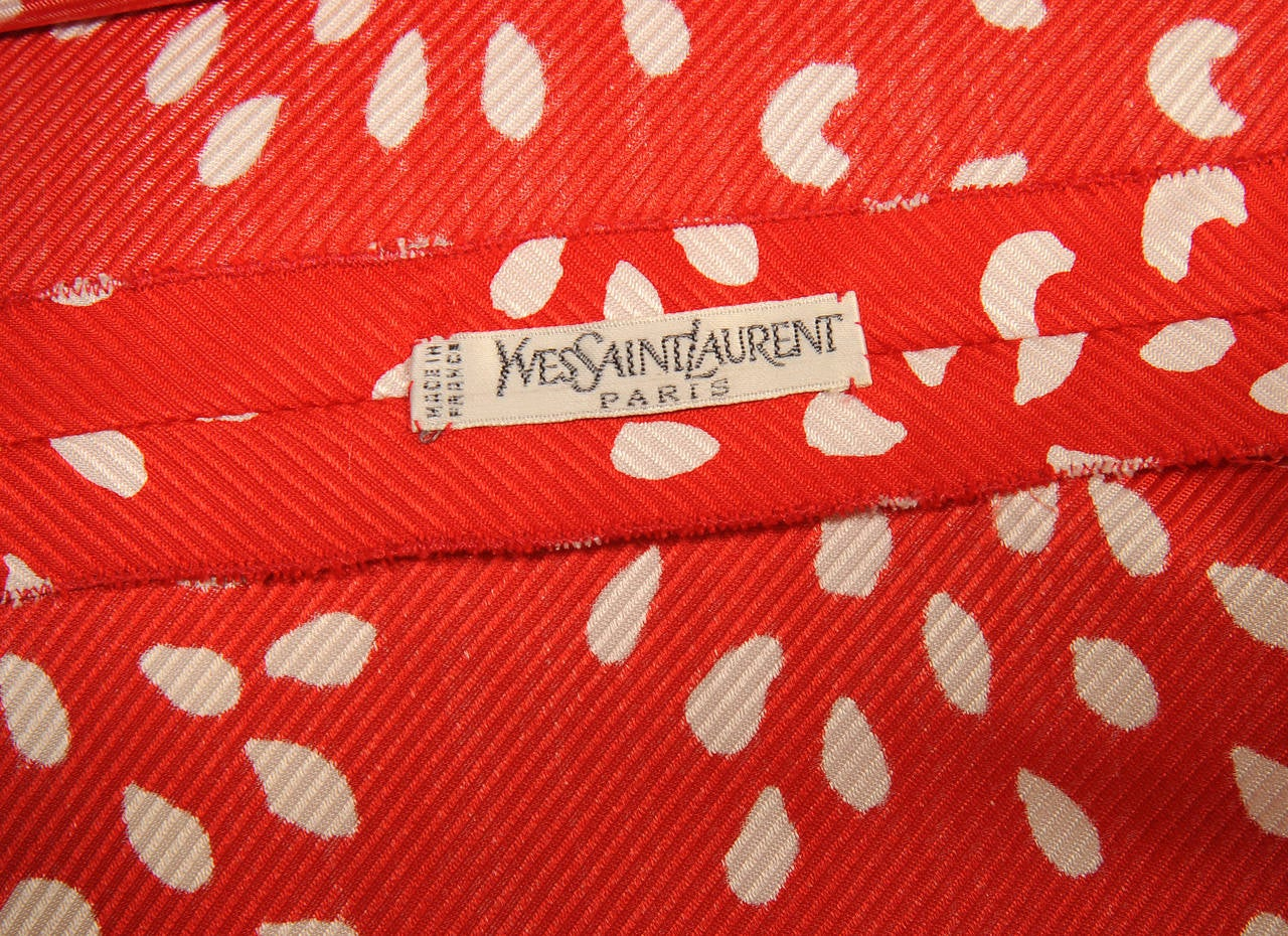 Yves Saint Laurent Red & White Silk Haute Couture Blouse 4