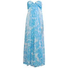 Givenchy Haute Couture Blue and White Strapless Silk Chiffon Dress and Shawl