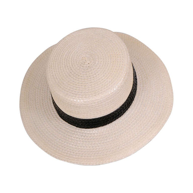Givenchy Couture White Straw Boater with Black Straw Hatband 1