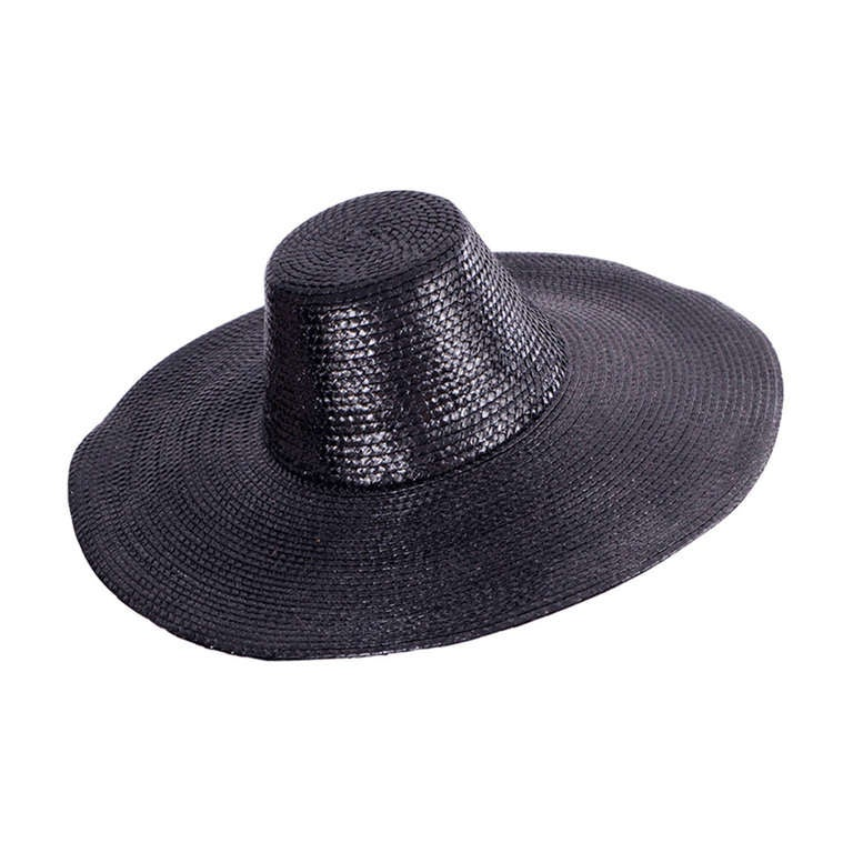 Givenchy Couture Black Straw Broad Brimmed Hat For Sale