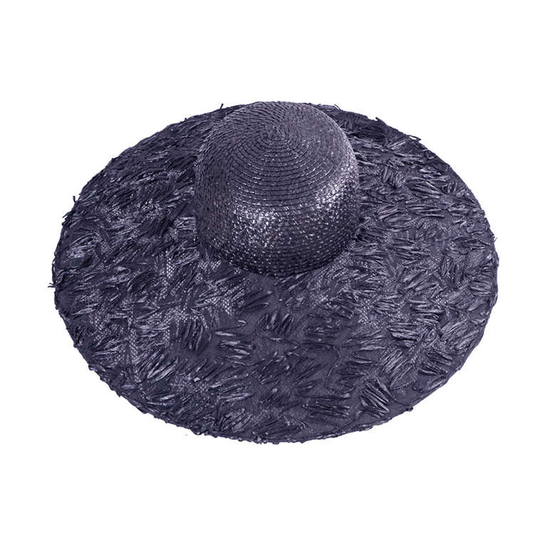 Isabel Canovas Oversized Black Straw Hat For Sale
