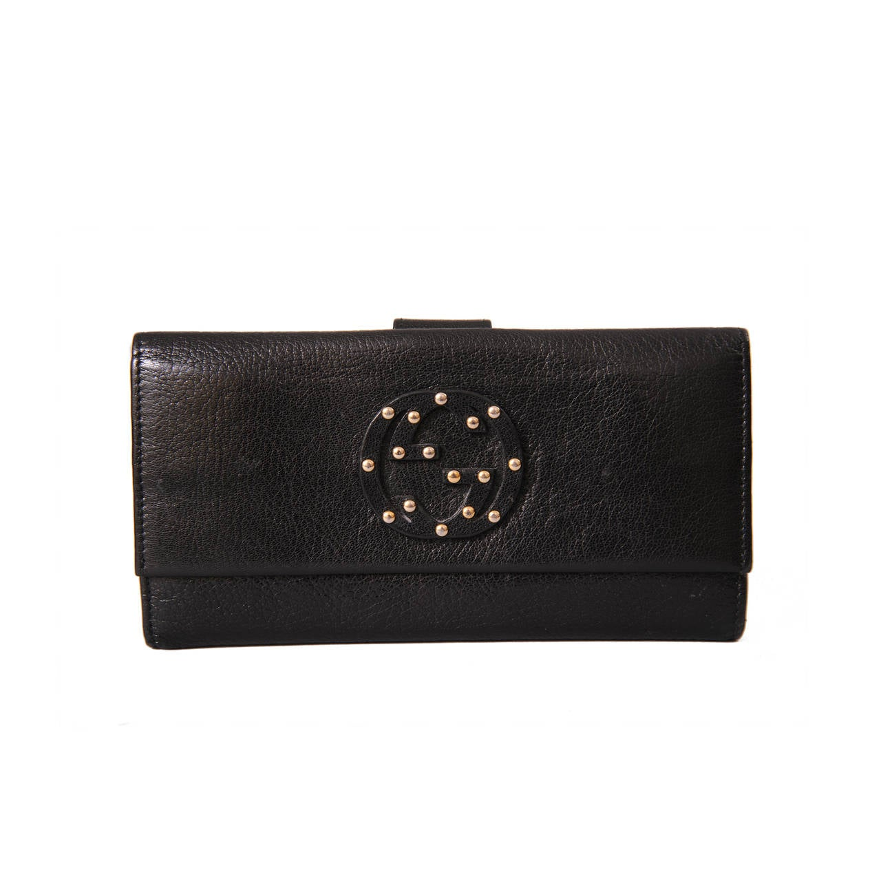 5c6a3e47b13 Gucci Studded Logo Black Leather Wallet For Sale at 1stdibs