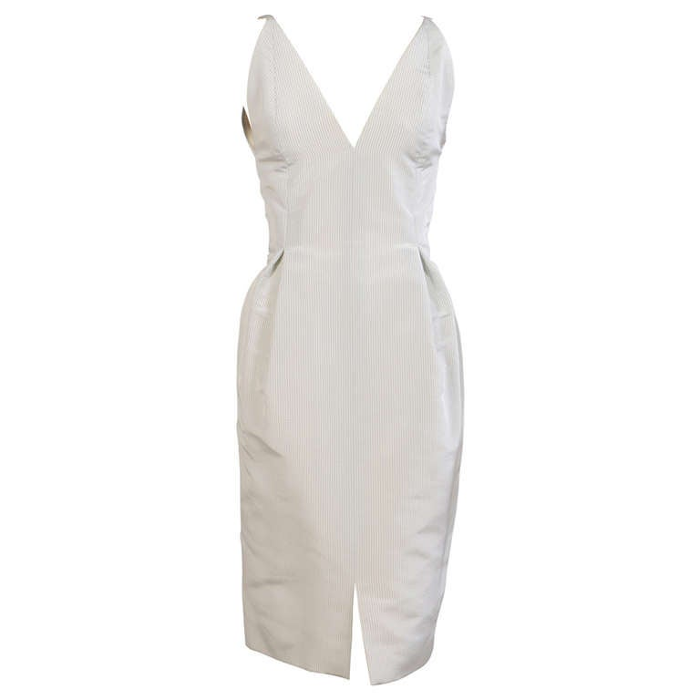 Geoffrey Beene Pale Green & White Striped Silk Dress & Jacket 1