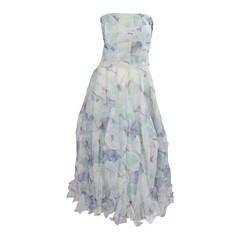 Victorio & Lucchino, Spanish Designers, Silk Organza Dress & Fringed Shawl