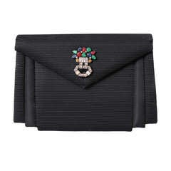 Jacomo Paris Black Silk Ottoman Clutch with Tutti Frutti Rhinestone Pin
