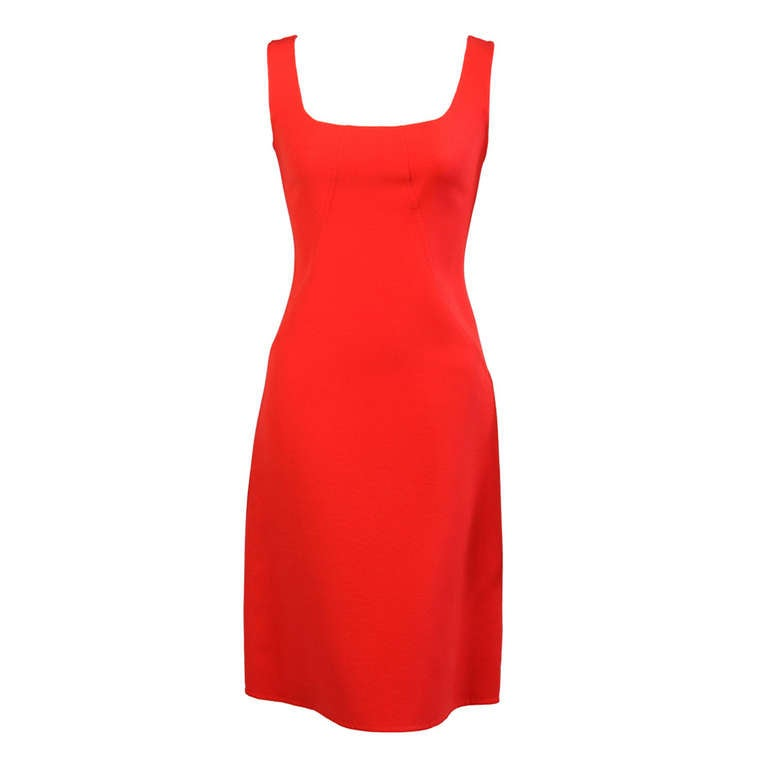 Oscar de la Renta Red Sheath Dress 1