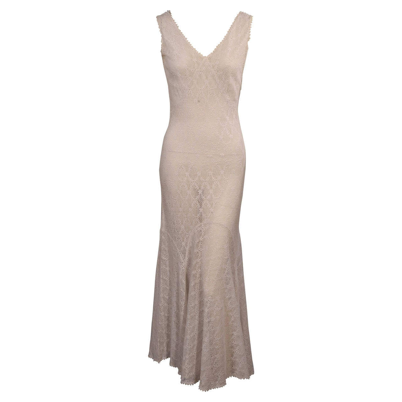 dd3e857ad0c8 1930 s Bias Cut White Lace Evening Dress at 1stdibs
