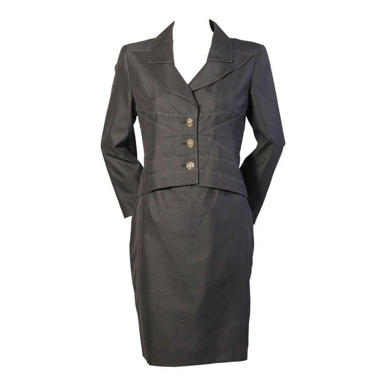 Christian Lacroix Black Silk Suit