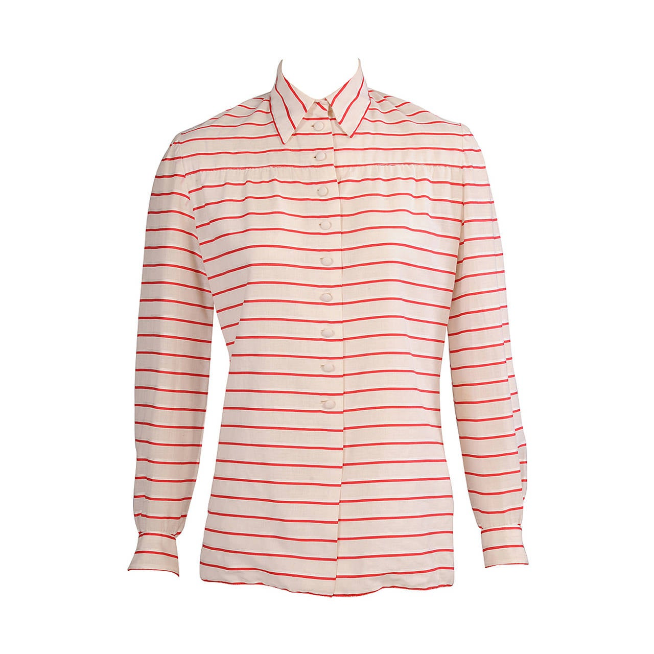 Chanel Red & White Striped Numbered Haute Couture Blouse For Sale