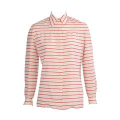 Chanel Red & White Striped Numbered Haute Couture Blouse