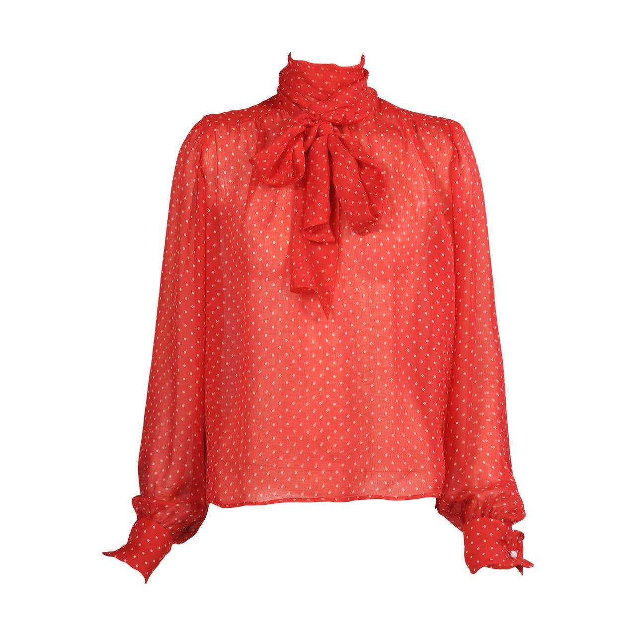 Yves Saint Laurent Polka Dot Chiffon Haute Couture Pussy Cat Bow Blouse 1
