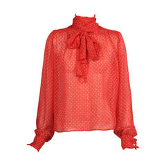 Yves Saint Laurent Polka Dot Chiffon Haute Couture Pussy Cat Bow Blouse