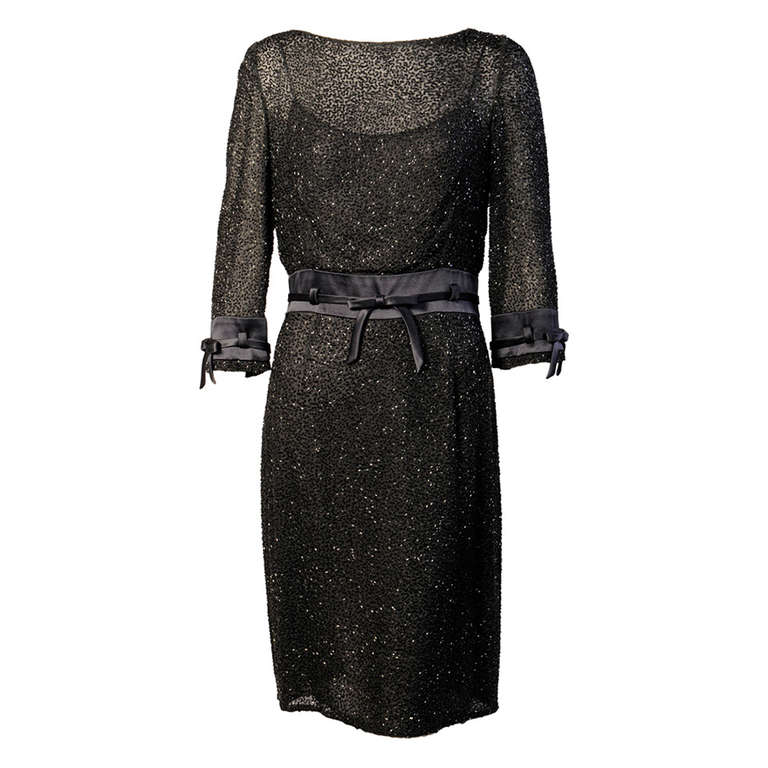 Badgley Mischka Beaded Black Silk Chiffon Dress