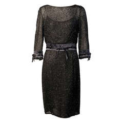 Badgley Mischka Beaded Black Silk Chiffon Dress