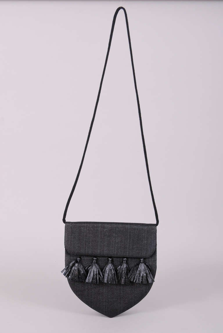Yves Saint Laurent Straw Bag with Raffia Tassels at 1stdibs