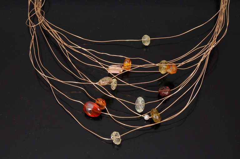 Kazuko Necklace Gold and Tourmalines 2