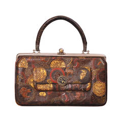 Antique Chinese Tooled Leather Bag, Dated 1878