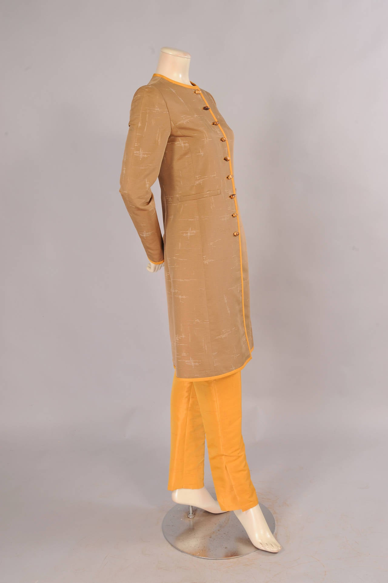 Brown Oscar de la Renta Slim Coat & Pants Ensemble in Tan and Saffron Silk For Sale