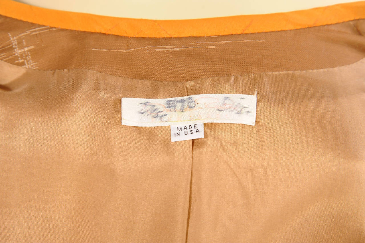 Oscar de la Renta Slim Coat & Pants Ensemble in Tan and Saffron Silk For Sale 1