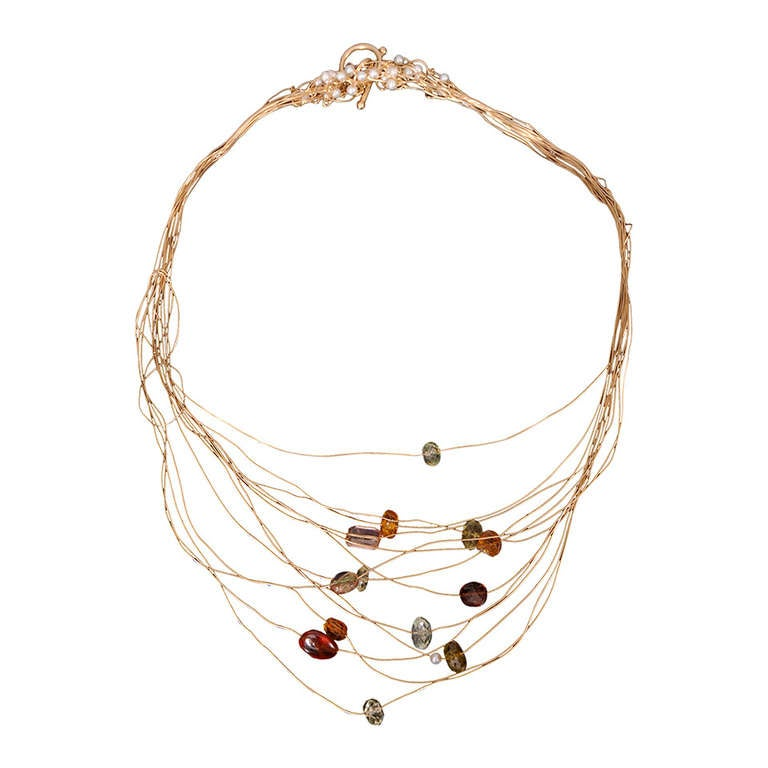 Kazuko Necklace Gold and Tourmalines 1