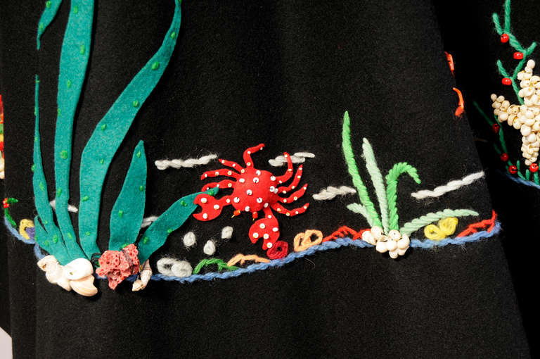 1950's Underwater World Wool Felt Appliqued Skirt In Excellent Condition In New Hope, PA