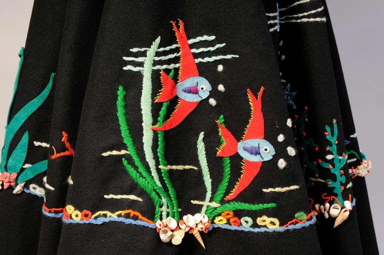 Women's 1950's Underwater World Wool Felt Appliqued Skirt