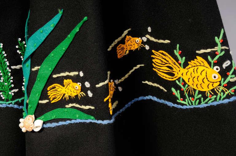 1950's Underwater World Wool Felt Appliqued Skirt 4