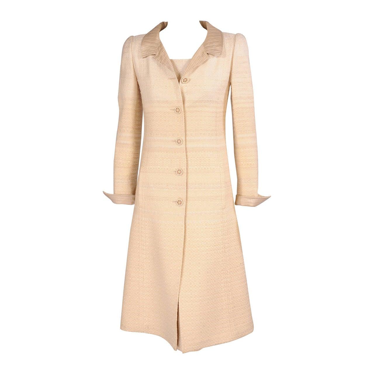 Pierre Balmain Haute Couture Coat & Dress Ensemble Hand Loomed Wool & Silk