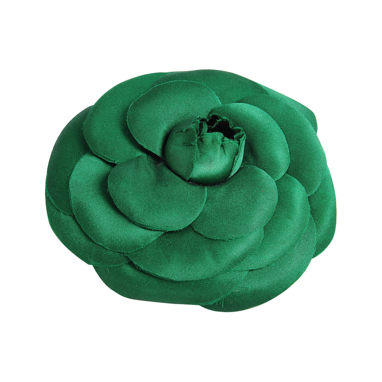 Chanel Oversized Green Silk Camellia Pin 1