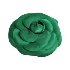 Chanel Oversized Green Silk Camellia Pin