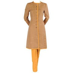 Oscar de la Renta Slim Coat & Pants Ensemble in Tan and Saffron Silk
