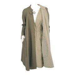 Sybil Connolly Olive Green Reversible Irish Wool Coat and Matching Dress