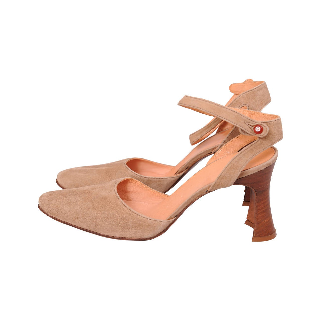 Chloe Taupe Suede Heels, Never Worn For Sale