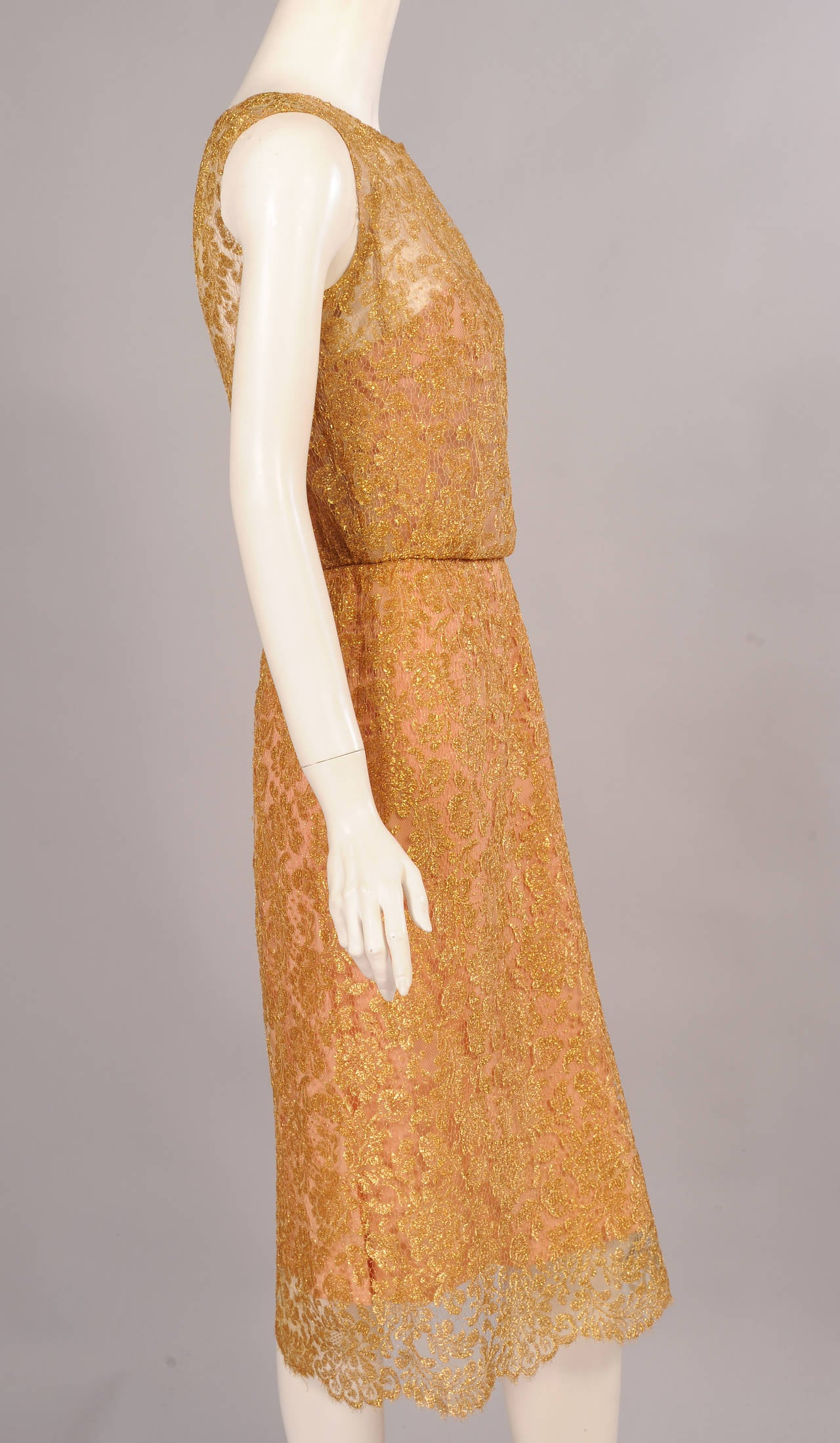 1960's Estevez Gold Lace Dress In Excellent Condition For Sale In New Hope, PA