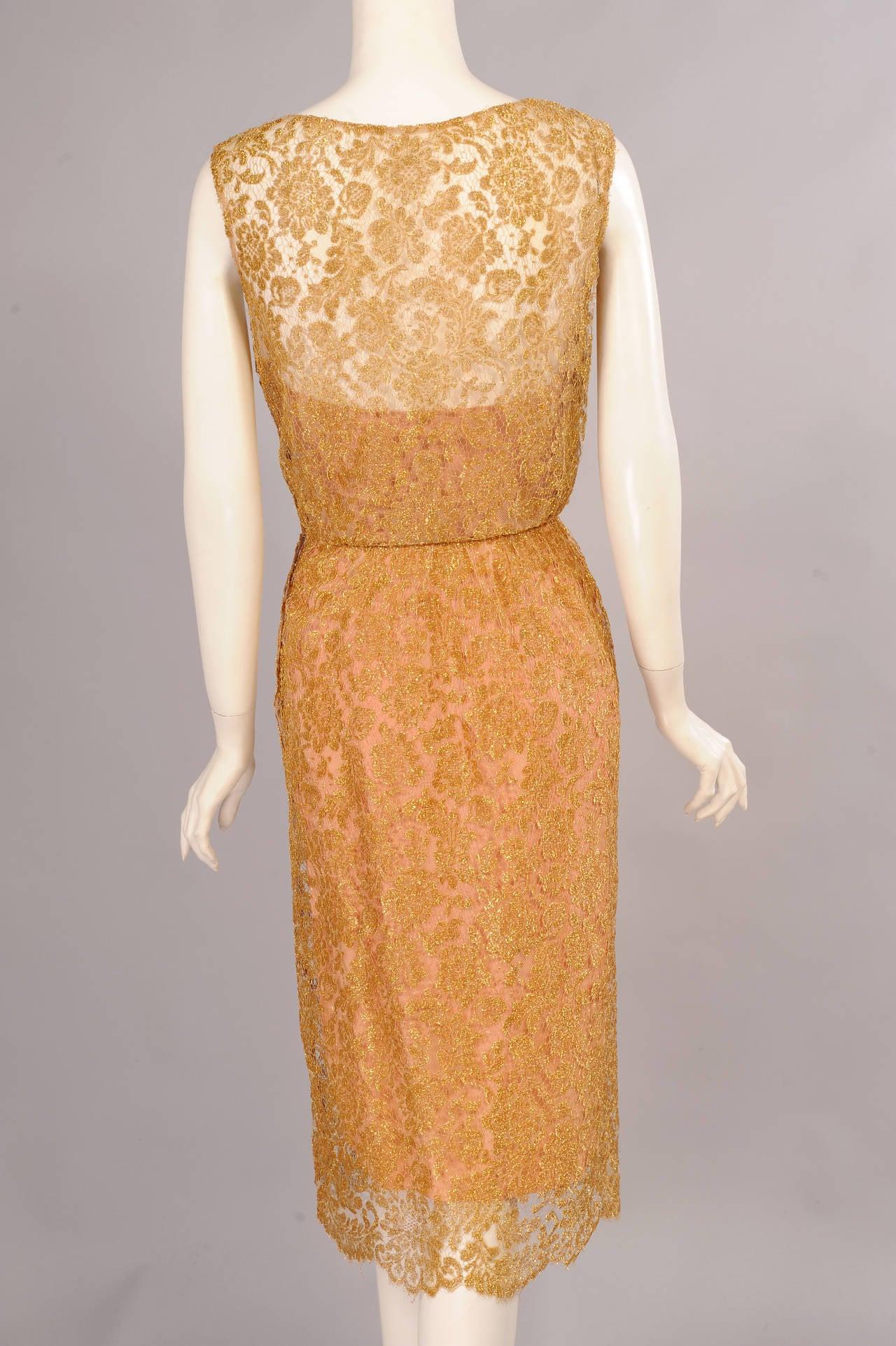 Women's 1960's Estevez Gold Lace Dress For Sale