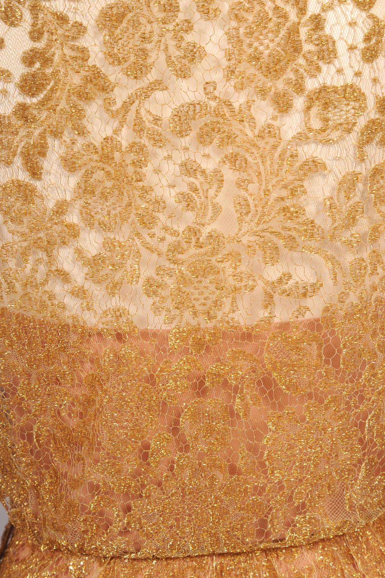 1960's Estevez Gold Lace Dress For Sale 1