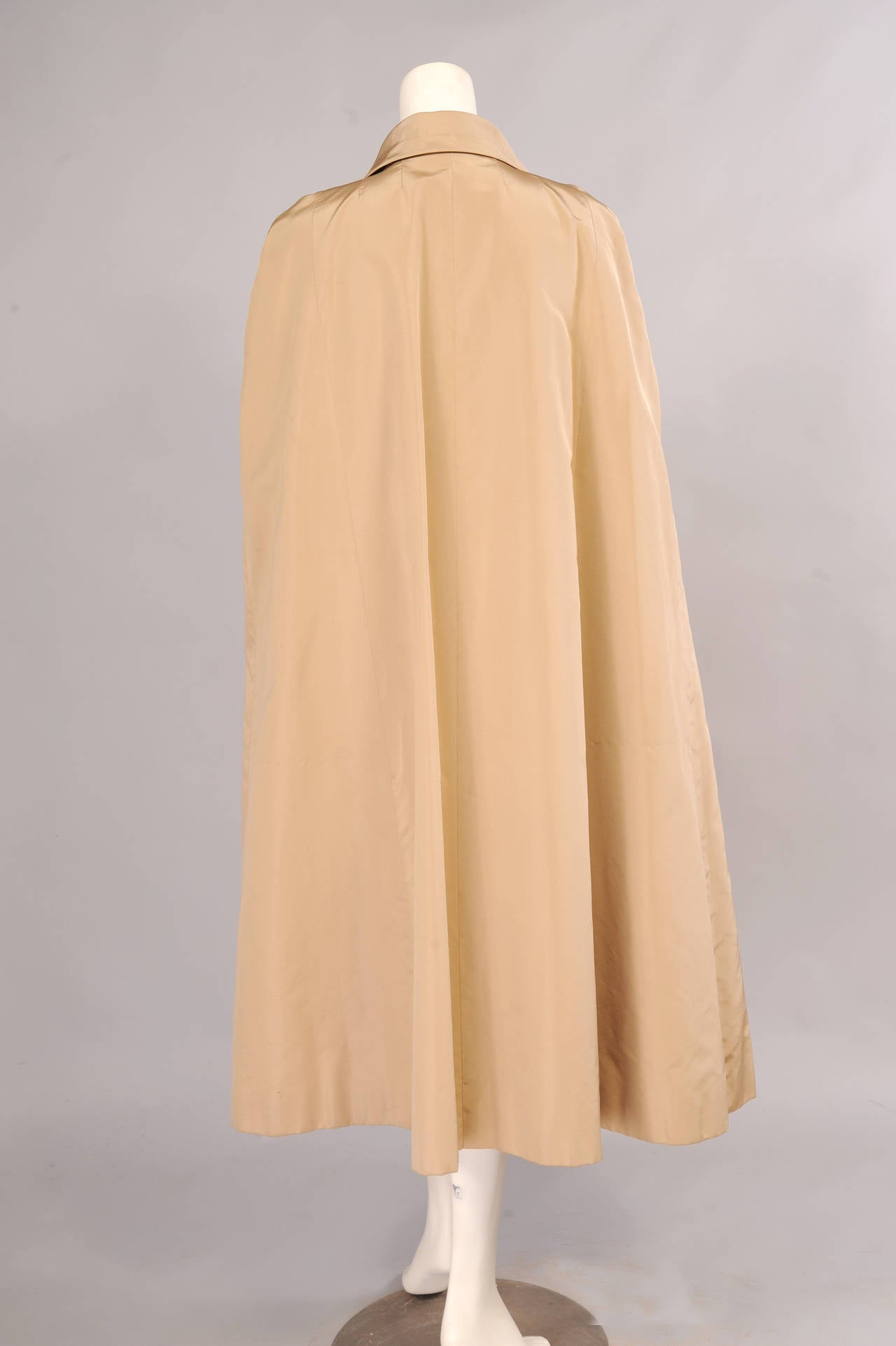 Beige Givenchy Labelled Haute Couture Silk Faille Evening Cape For Sale