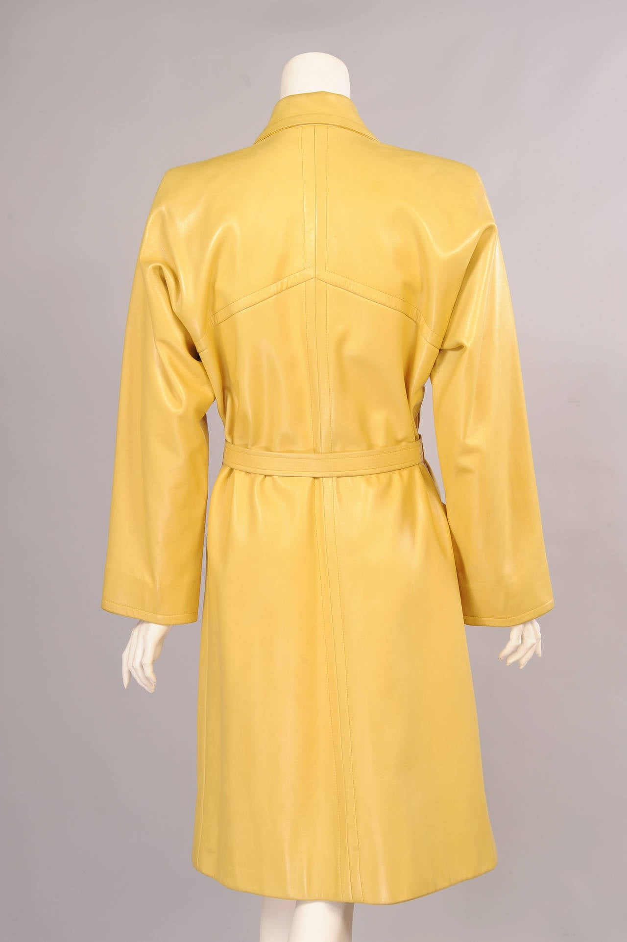 Orange Givenchy Haute Couture Runway Worn Yellow Leather Trench Coat For Sale