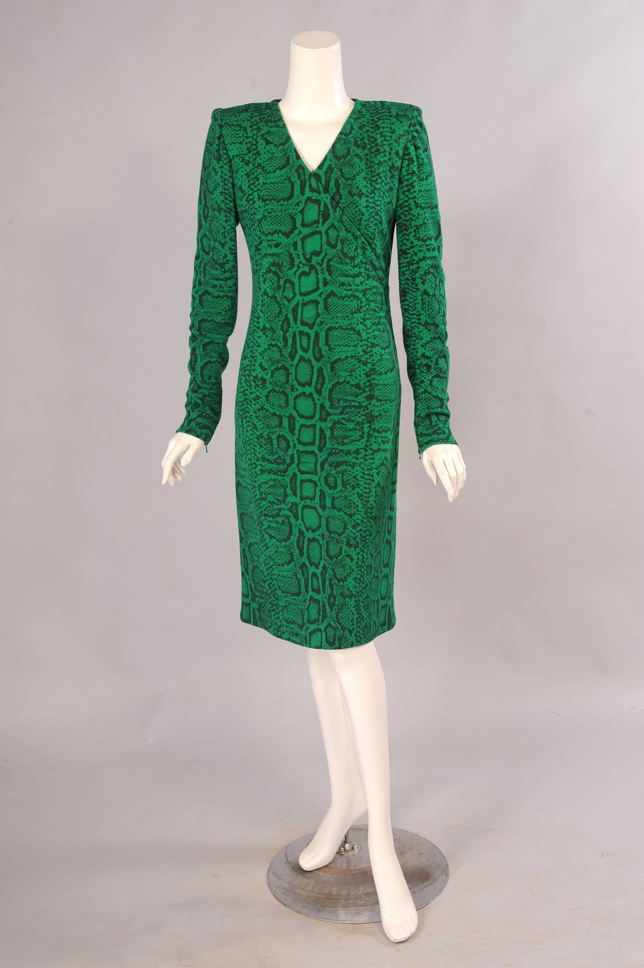 Givenchy Haute Couture Kelly Green Snakeskin Print Wool