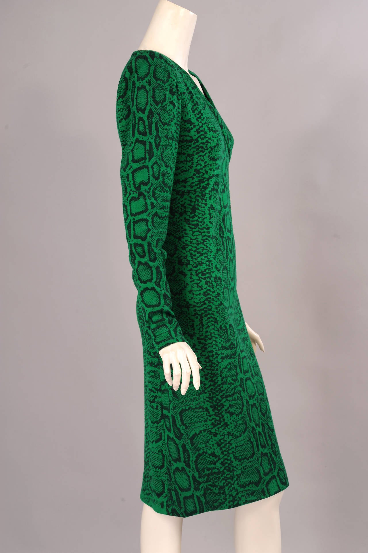 Blue Givenchy Haute Couture Kelly Green Snakeskin Print Wool Dress, Runway Label For Sale