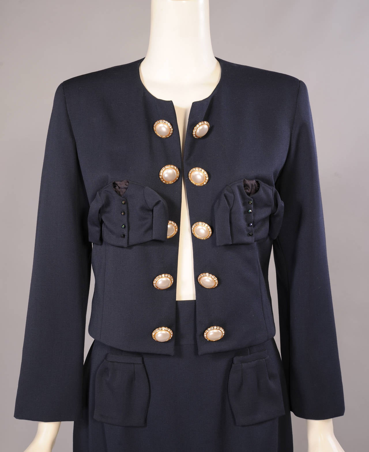 Black Iconic & Ironic Moschino Couture Suit, Chanel Inspired Suit Pockets For Sale