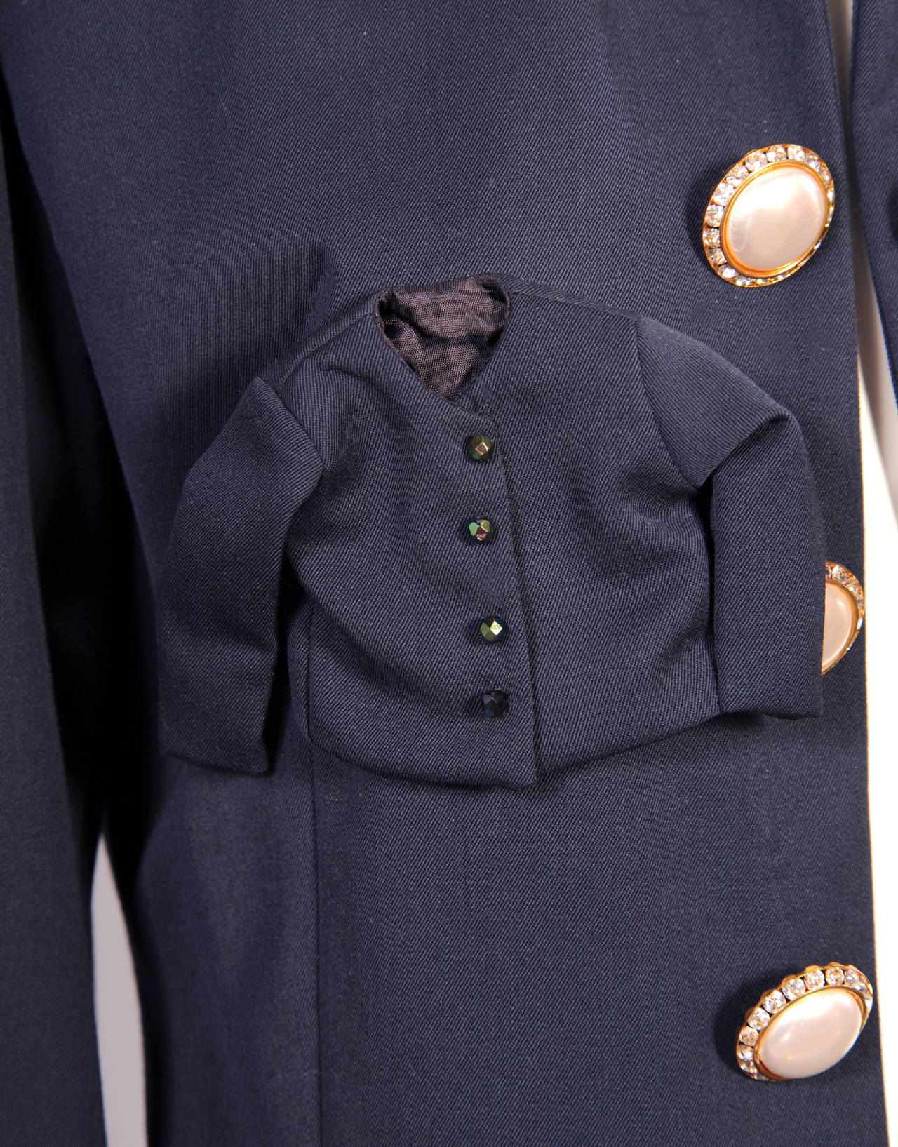 Women's Iconic & Ironic Moschino Couture Suit, Chanel Inspired Suit Pockets For Sale